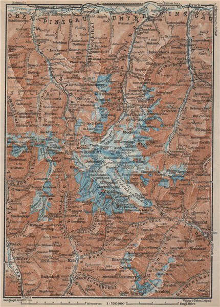 Associate Product GLOCKNERGRUPPE. HOHE TAUERN. UNTERPINZGAU. Kaprun Matrei Grossdorf 1927 map