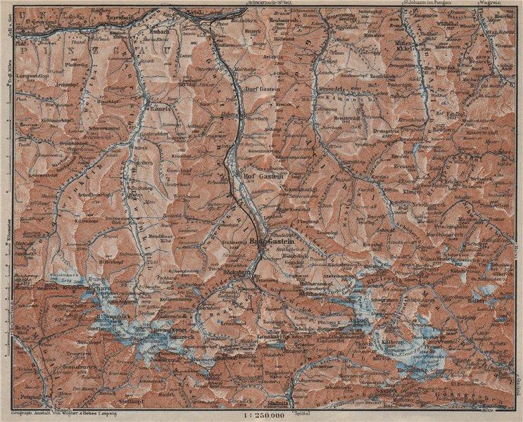 Associate Product HOHE TAUERN & GASTEINER TAL Ankogelgruppe Goldberggruppe Bad Gastein 1927 map