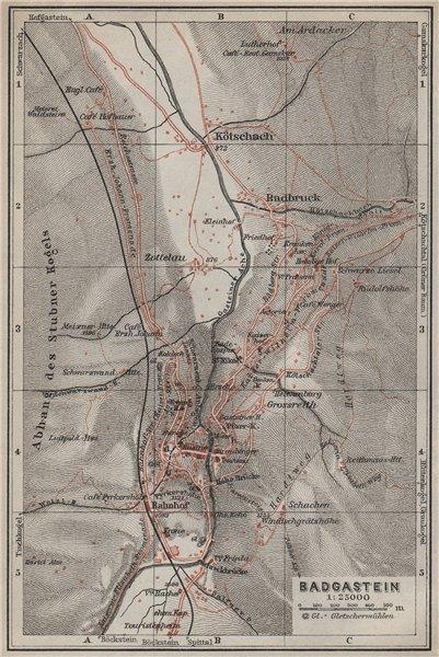 Associate Product WILDBAD/BAD GASTEIN town plan stadtplan & environs. Austria Österreich 1927 map