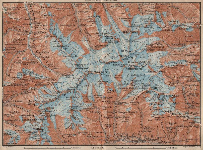 Gross VENEDIGERGRUPPE Group topo-map. Prägraten. Austria Österreich 1927