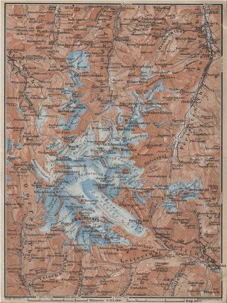 Associate Product GLOCKNERGRUPPE Grossglockner topo-map. Austria Österreich karte 1927 old