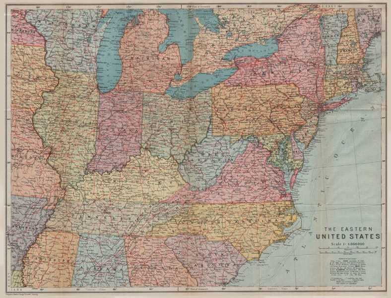 Associate Product EASTERN UNITED STATES. Lighthouses/lightships & their visibility. USA 1909 map