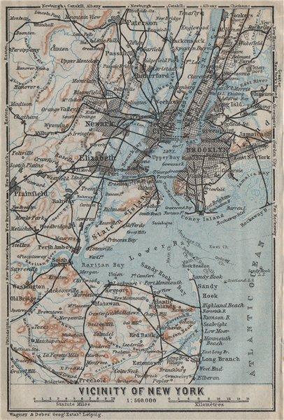 Associate Product NEW YORK CITY Metro area. Brooklyn Newark Jersey City. BAEDEKER 1909 old map