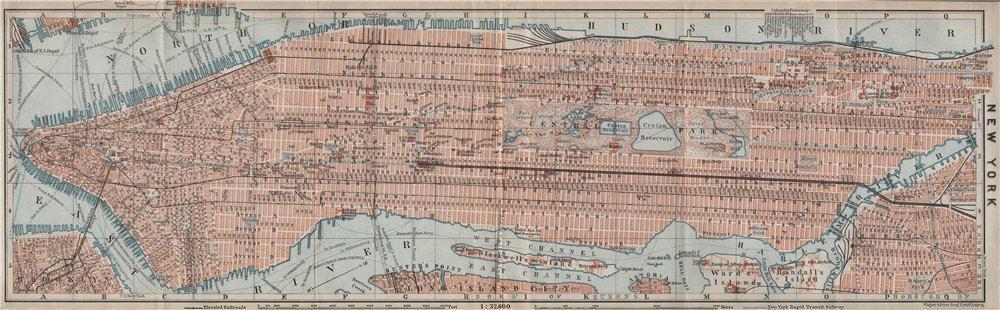 Associate Product MANHATTAN antique town city plan panorama. New York City. BAEDEKER 1909 map