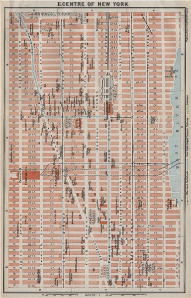Associate Product MIDtown DOWNTOWN MANHATTAN. New York City antique town plan. BAEDEKER 1909 map