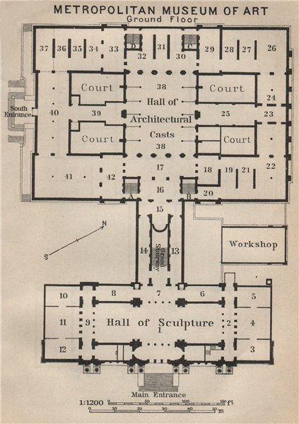 Associate Product METROPOLITAN MUSEUM OF ART GROUND FLOOR. New York. BAEDEKER 1909 old map