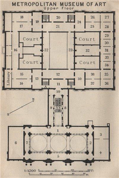 Associate Product METROPOLITAN MUSEUM OF ART UPPER FLOOR. New York. BAEDEKER. SMALL 1909 old map