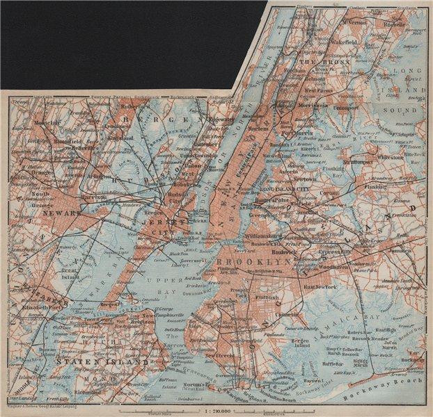 Associate Product NEW YORK CITY. Manhattan Bronx Brooklyn Staten Is. Newark Jersey City 1909 map
