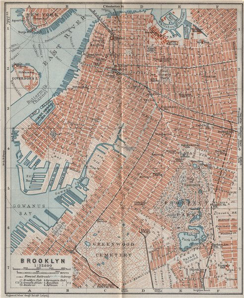 Associate Product BROOKLYN antique town city plan. New York City. BAEDEKER 1909 old map