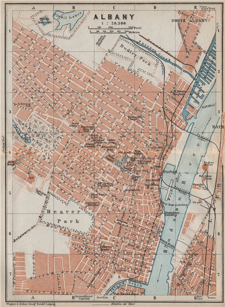 Associate Product ALBANY antique town city plan. New York State. BAEDEKER 1909 old map