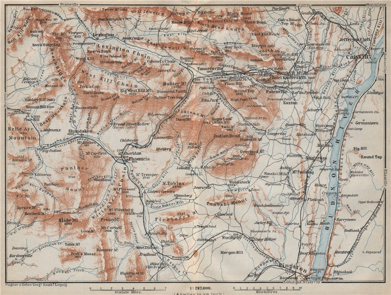 THE CATSKILL MOUNTAINS . New York State. Hudson River. BAEDEKER 1909 old map