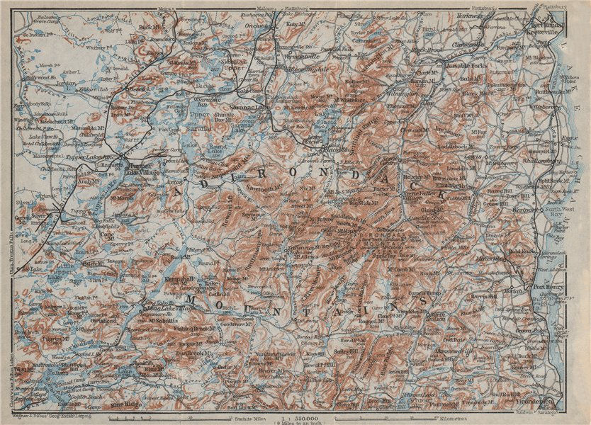 Associate Product THE ADIRONDACK MOUNTAINS . New York State. BAEDEKER 1909 old antique map chart
