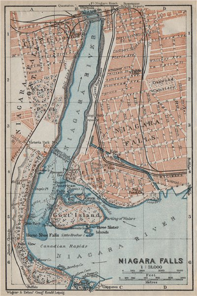 Associate Product NIAGARA FALLS antique town city plan. New York State. BAEDEKER 1909 old map