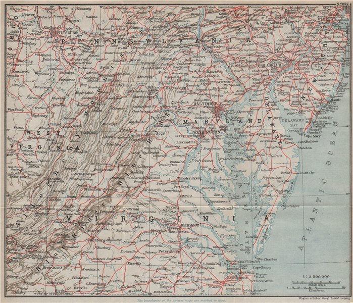 Associate Product USA ATLANTIC STATES RAILWAY MAP. Appalachia. Baltimore Philadelphia 1909