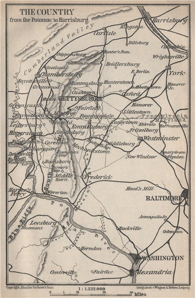 Associate Product GETTYSBURG environs. Pennsylvania Maryland. Washington Baltimore 1909 old map
