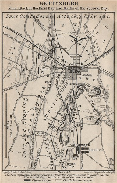 Associate Product GETTYSBURG BATTLEFIELD. Last confederate attack July 1-2. Pennsylvania 1909 map