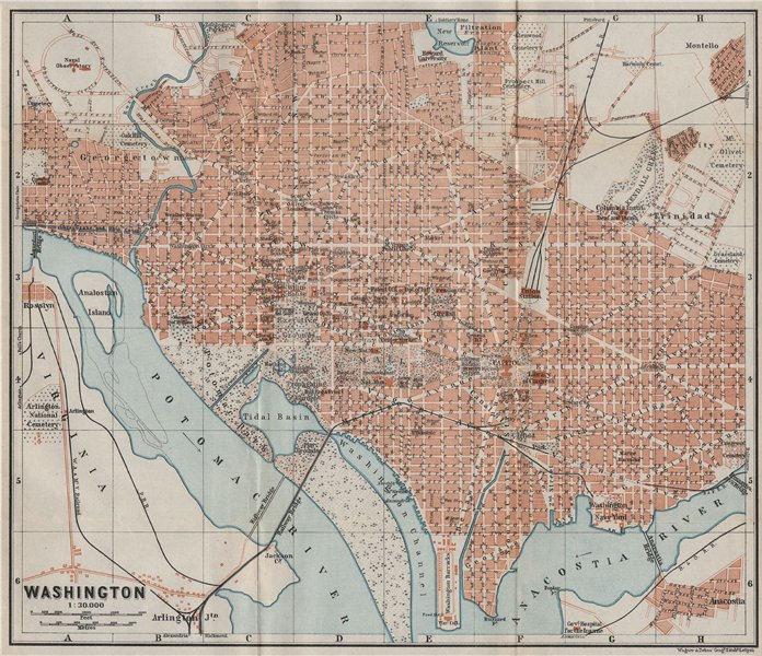 Associate Product WASHINGTON DC antique town city plan. BAEDEKER 1909 old map chart