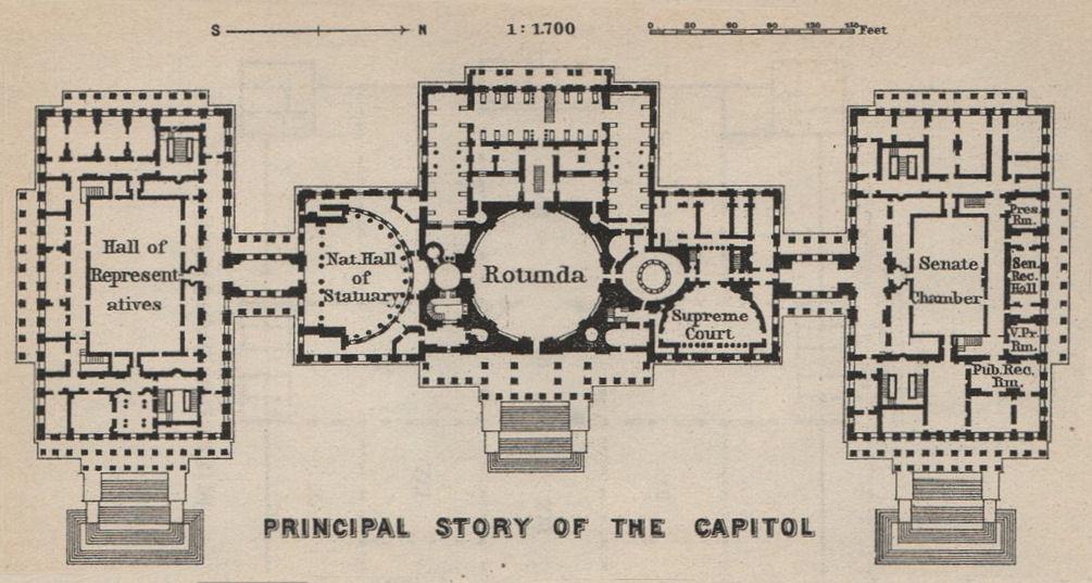 Associate Product CAPITOL Floorplan Washington DC. Senate. Hall of Representatives SMALL 1909 map