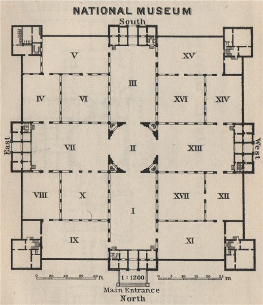 Associate Product NATIONAL MUSEUM floorplan Washington DC Smithsonian Institution. SMALL 1909 map