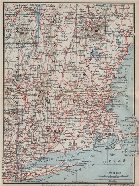 Associate Product RAILWAY MAP OF THE NEW ENGLAND STATES. USA. BAEDEKER 1909 old antique