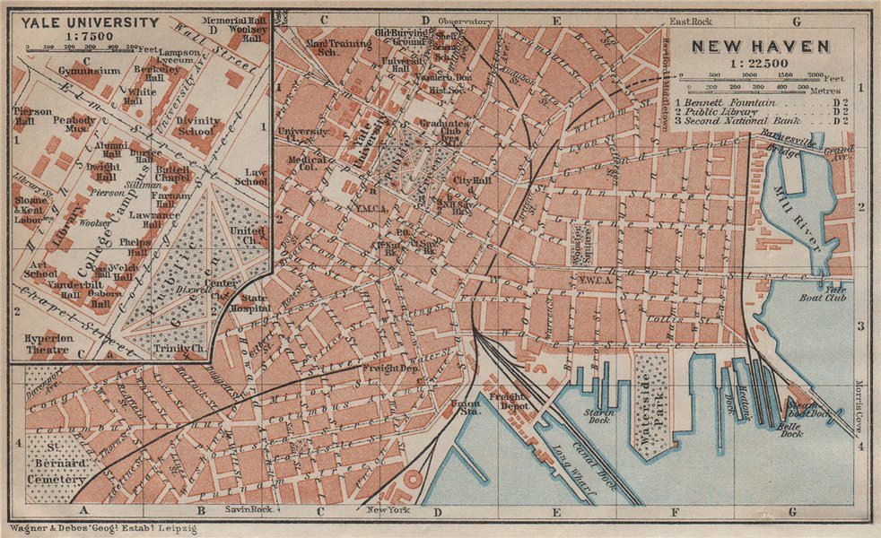Associate Product NEW HAVEN antique town city plan. Inset Yale University. Connecticut 1909 map