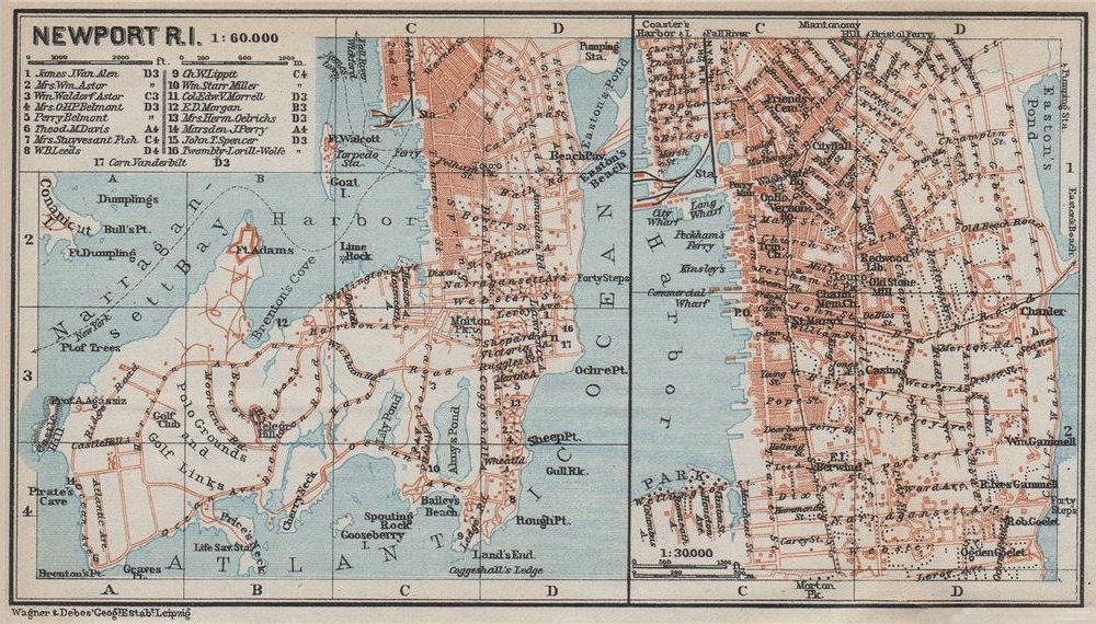 Associate Product NEWPORT, RHODE ISLAND antique town city plan. BAEDEKER 1909 old map