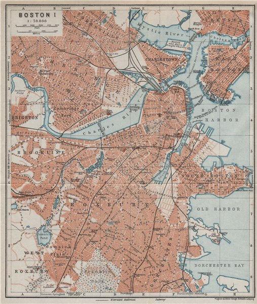 Associate Product BOSTON town city plan. Cambridge Brookline Roxbury Massachusetts 1909 old map