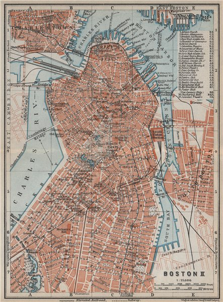 Associate Product DOWNTOWN BOSTON city plan. Back Bay North End Beacon Hill Chinatown 1909 map