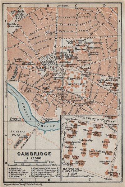 Associate Product CAMBRIDGE, Massachusetts town city plan. Inset Harvard University 1909 old map