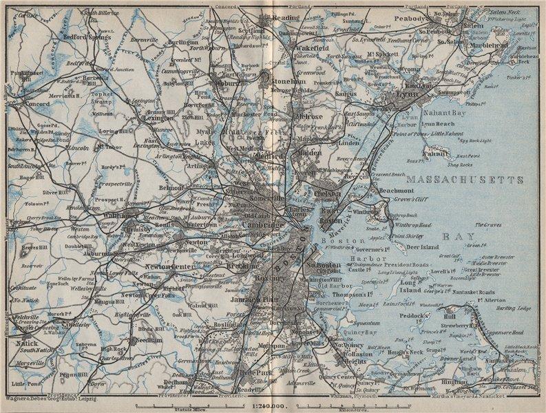 Associate Product BOSTON ENVIRONS. Massachusetts Bay Lynn. BAEDEKER 1909 old antique map chart