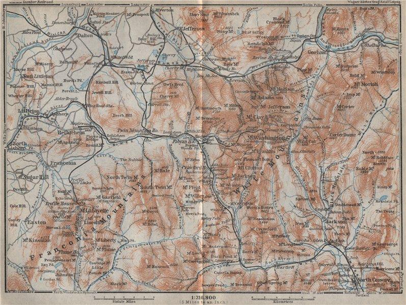 Associate Product WHITE MOUNTAINS, New Hampshire. Franconia Mtns. Mount Washington 1909 old map