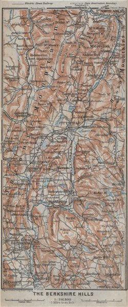 Associate Product BERKSHIRE HILLS Massachusetts Taconic Mtns Pittsfield Great Barrington 1909 map