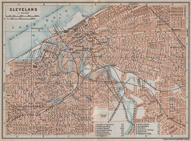 Associate Product CLEVELAND antique town city plan. Ohio. BAEDEKER 1909 old map chart