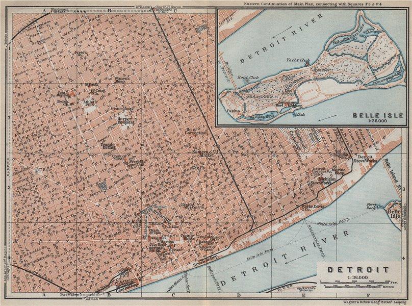 Associate Product DETROIT antique town city plan. Inset Belle Isle. Michigan. BAEDEKER 1909 map