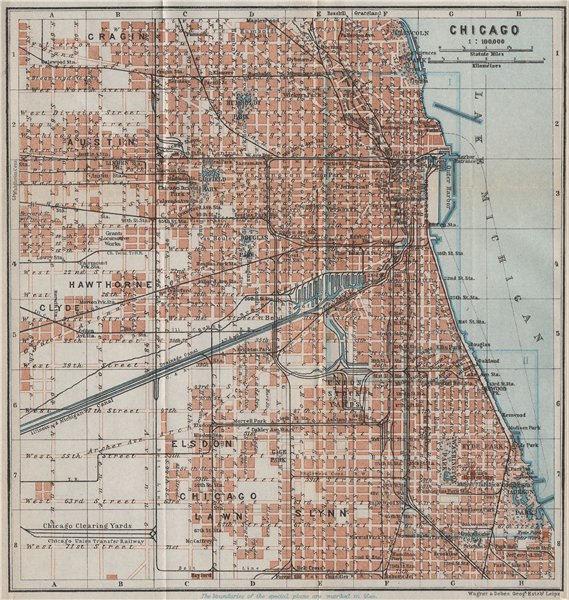 Associate Product CHICAGO town city plan. Illinois. Lawn Elsdon Austin Lynn Clyde Cragin 1909 map