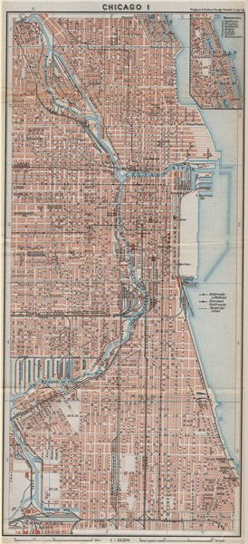 Associate Product DOWNTOWN CHICAGO city plan. Near North/South Side Loop Greektown 1909 old map