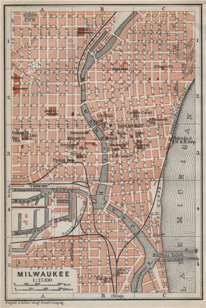 Associate Product MILWAUKEE antique town city plan. Wisconsin. BAEDEKER 1909 old map