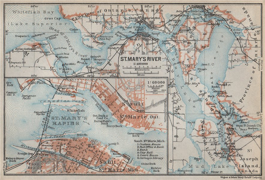 Associate Product ST MARYS RIVER/RAPIDS. Sault-Ste-Marie town plan. Michigan/Ontario 1909 map