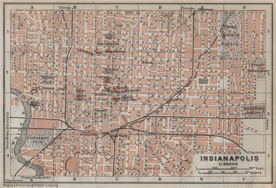 INDIANAPOLIS antique town city plan. Indiana. BAEDEKER 1909 old map