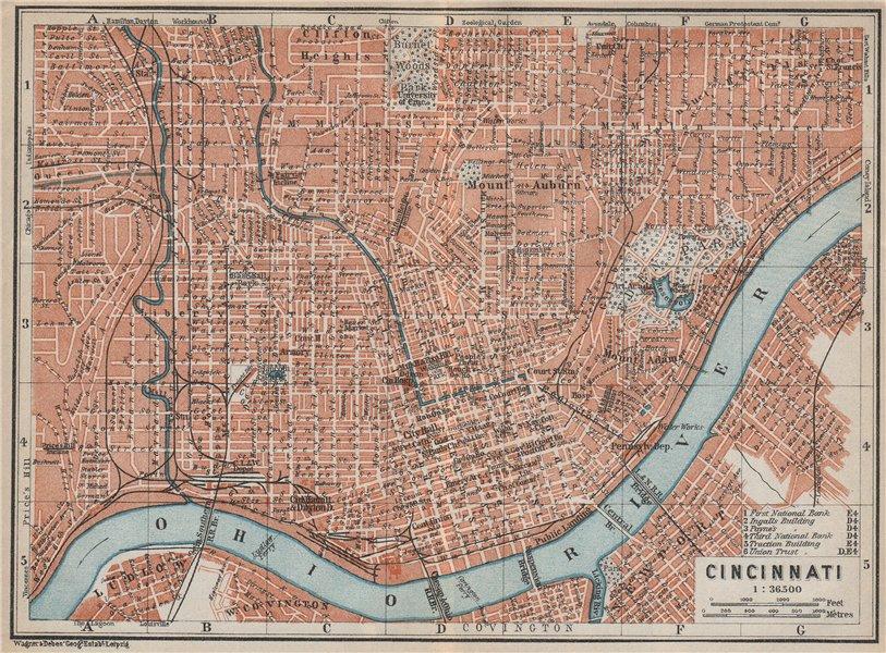 Associate Product CINCINNATI antique town city plan. Ohio. BAEDEKER 1909 old map chart