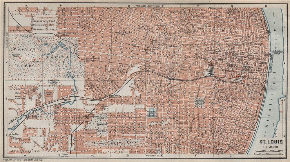 Associate Product ST. LOUIS antique town city plan. Missouri. BAEDEKER 1909 old map