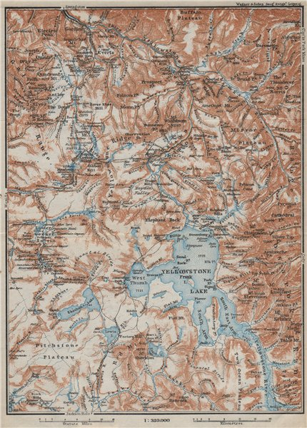 Associate Product YELLOWSTONE NATIONAL PARK. Topo-map. Wyoming. BAEDEKER 1909 old antique