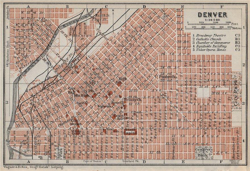 Associate Product DENVER antique town city plan. Colorado. BAEDEKER 1909 old map chart