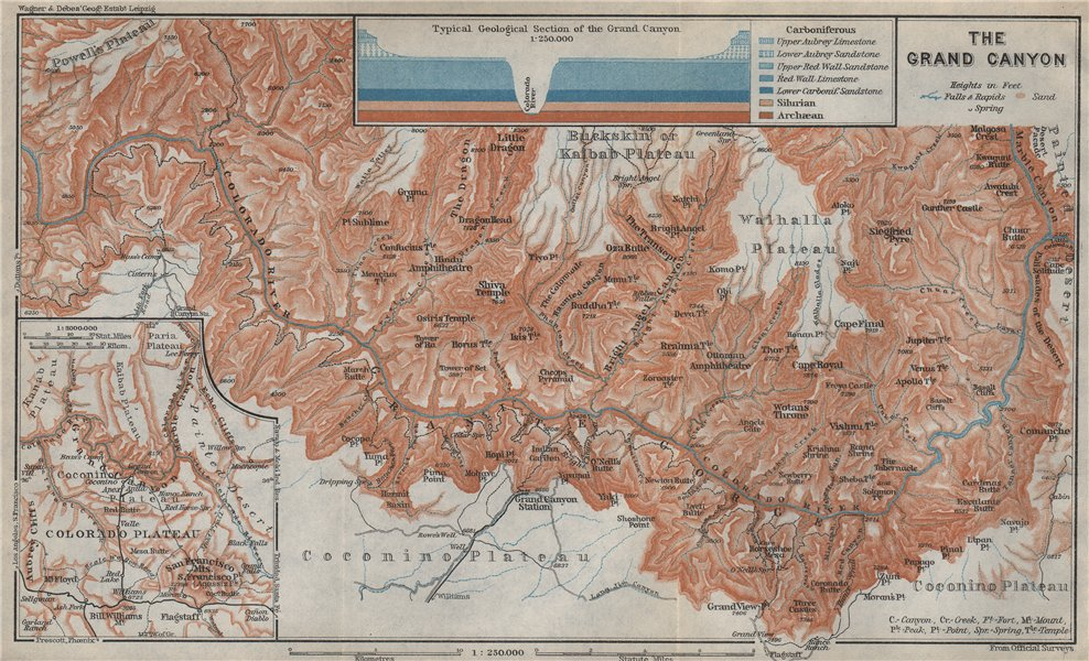 Associate Product THE GRAND CANYON OF THE COLORADO RIVER. Geological section. Arizona 1909 map