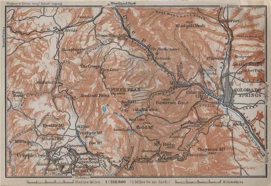 Associate Product COLORADO SPRINGS environs. Pike's Peak Cripple Creek. BAEDEKER 1909 old map