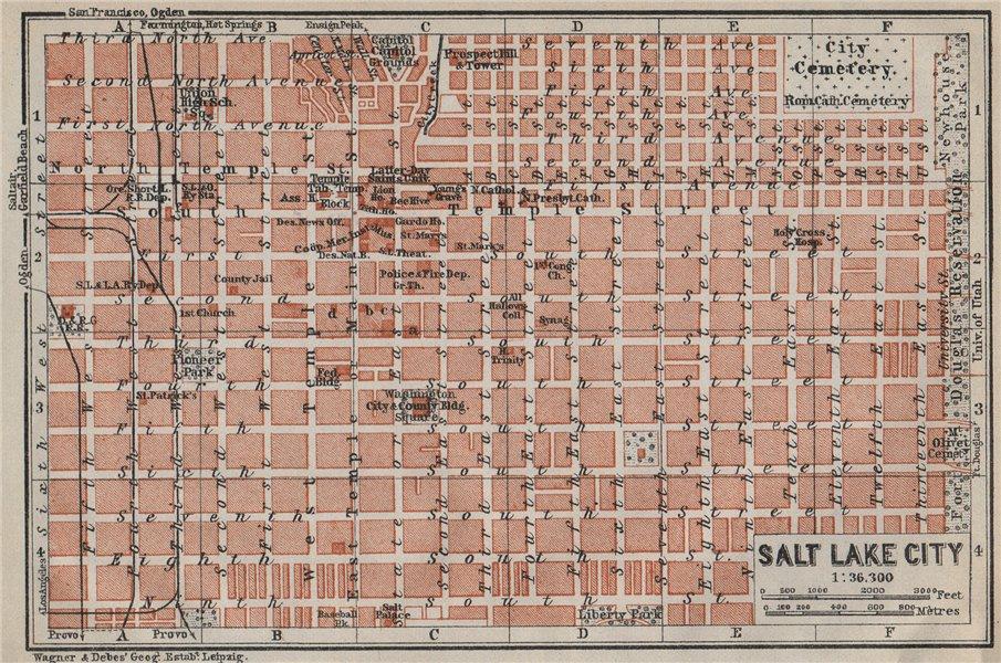 Associate Product SALT LAKE CITY antique town city plan. Utah. BAEDEKER 1909 old map