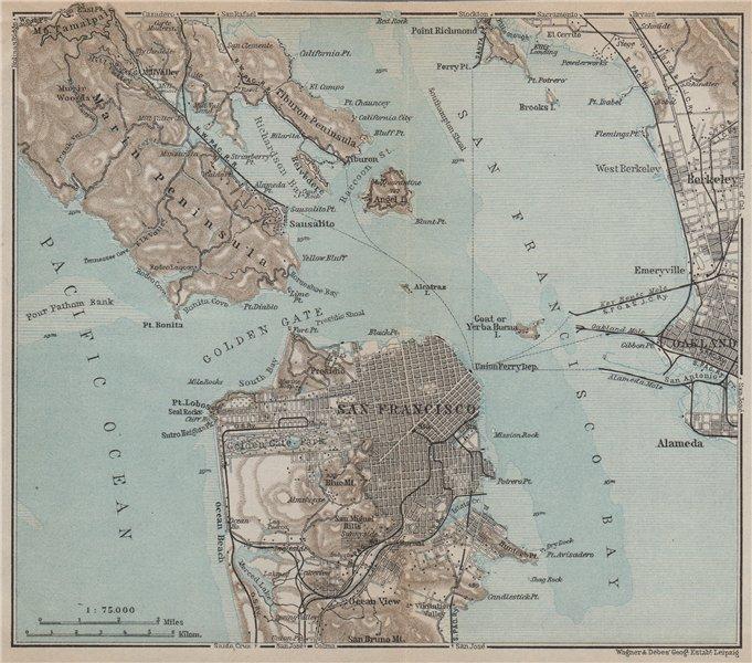 Associate Product SAN FRANCISCO BAY California Golden gate Oakland Berkeley. Pre-bridges 1909 map