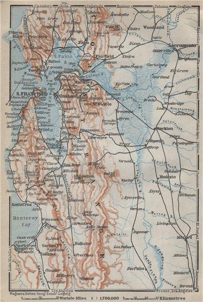 Associate Product SAN FRANCISCO BAY AREA, California. Oakland Berkeley Monterey 1909 old map