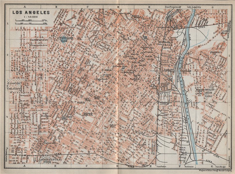 Associate Product LOS ANGELES city plan. Downtown Westlake Chinatown Financial district 1909 map