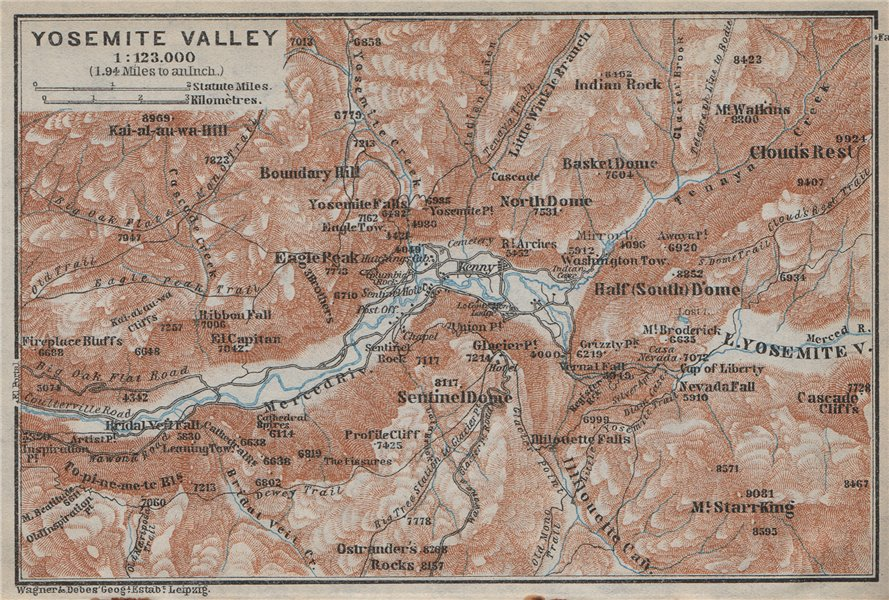 Associate Product YOSEMITE VALLEY, California. Topo-map. BAEDEKER 1909 old antique chart